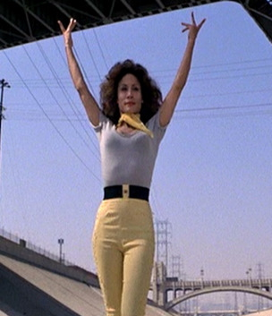Grease_Annette-Cardona_grey-sweater-and-yellow-pedal-pushers